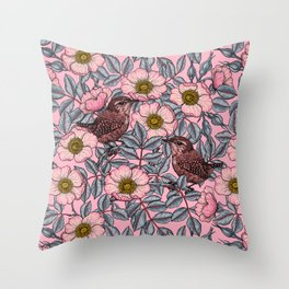 Wrens in the roses   Throw Pillow
