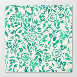 Teal Boho Floral Canvas Print