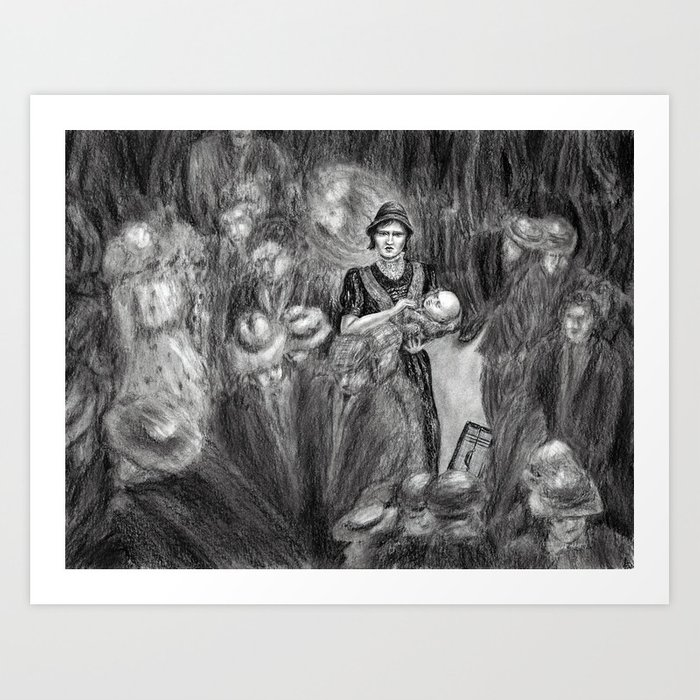 Untitled - charcoal drawing Art Print