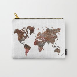 Siena Rosso Marble World Map Carry-All Pouch