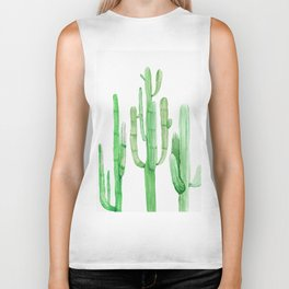 Three Amigos Cacti Green Biker Tank