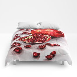 Red pomegranate watercolor art painting Comforters