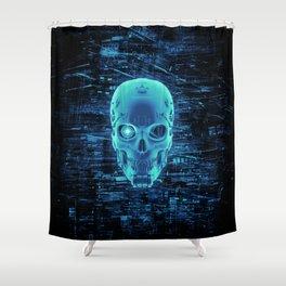 Gamer Skull BLUE TECH / 3D render of cyborg head Shower Curtain