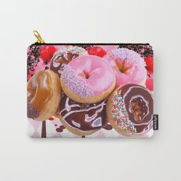 CHOCOLATE & PINK  STRAWBERRY GLAZED DONUTS ART Carry-All Pouch