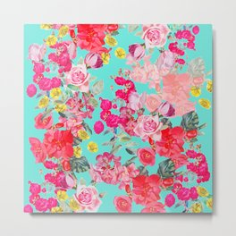 Bright Turquoise/Teal  Antique inspired Floral Print With Hot pink, baby Pink, Coral and Yellow Metal Print
