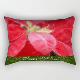 Mottled Red Poinsettia 2 Happy Holidays S6F1 Rectangular Pillow