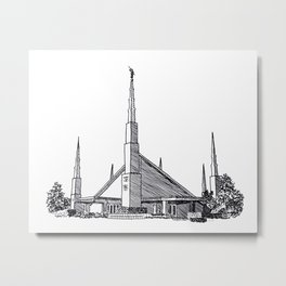 Dallas Texas LDS Temple Ink Drawing Metal Print