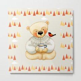 Bear drinking Tea with Honey Metal Print