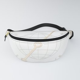 Gold Compass on White Fanny Pack