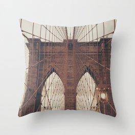 Moody Brooklyn Bridge Throw Pillow
