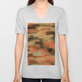 green brown orange and black painting abstract background Unisex V-Neck