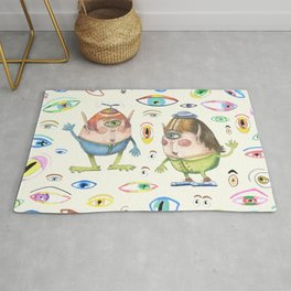 two quirky cute roly poly cyclops and some eyes, ivory cream off white natural white Rug
