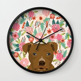 Pitbull floral dog portrait pibble peeking face gifts for dog lover Wall Clock