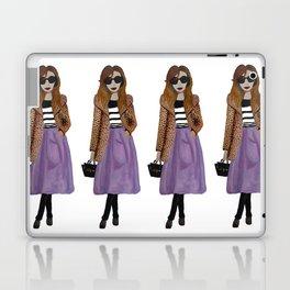 Fashion Illustration 'Lila' leopard coat outfit Laptop & iPad Skin