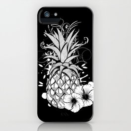 Pineapple with hibiscus blossom iPhone Case