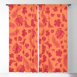 Tropical flora living coral pattern Blackout Curtain
