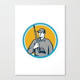 Power Washer Pressure Washing Gun Circle Retro Canvas Print