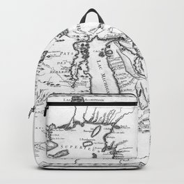 Vintage Map of The Great Lakes (1755) BW Backpack