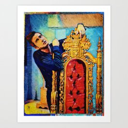 Colorful Demon Crowley and Chair Art Print