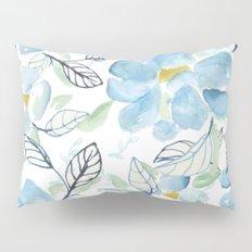 Blue flower garden watercolor Pillow Sham