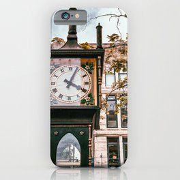 Photograph of Vancouver's Steam Clock in Gastown, BC on a Bright Day iPhone Case