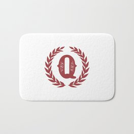 Rustic Red Monogram: Letter Q Bath Mat