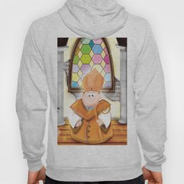Cartoon Priest in his cosy Church Hoody