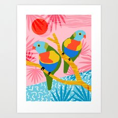 Besties - retro throwback memphis bird art pattern bright neon pop art abstract 1980s 80s style mini Art Print