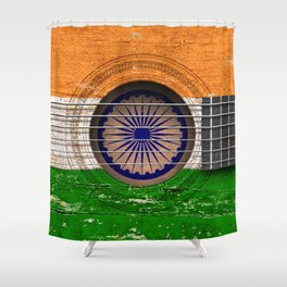 Old Vintage Acoustic Guitar with Indian Flag Shower Curtain