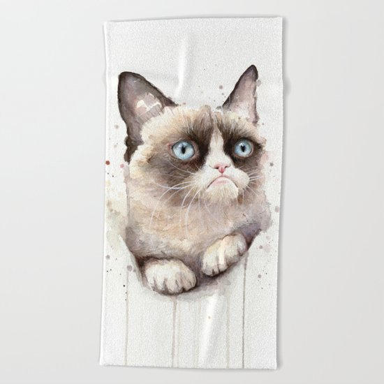 Grumpy Watercolor Cat Animals Meme Geek Art Beach Towel