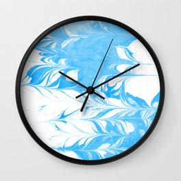 Suminagashi blue and white 1 marble spilled ink ocean swirl watercolor painting Wall Clock