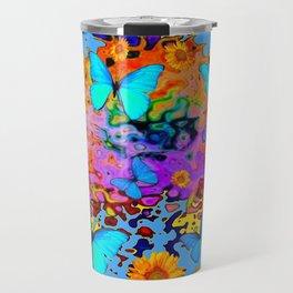 Black Decorative Blue Butterflies Floral Art Travel Mug