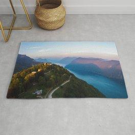 Mount Bre, Lugano, Switzerland Alpine Mountaintop lakeside photograph Rug