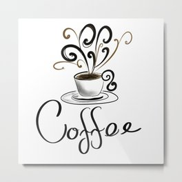 Coffee Cup With Flourish Steam Metal Print