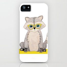 Racoon with glasses iPhone Case