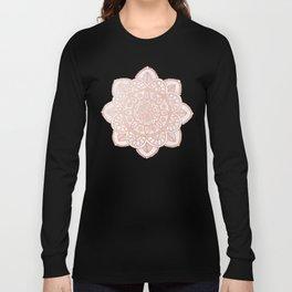 Rose Gold Mandala on White Marble Long Sleeve T-shirt