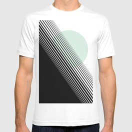 Rising Sun Minimal Japanese Abstract White Black Mint Green T-shirt