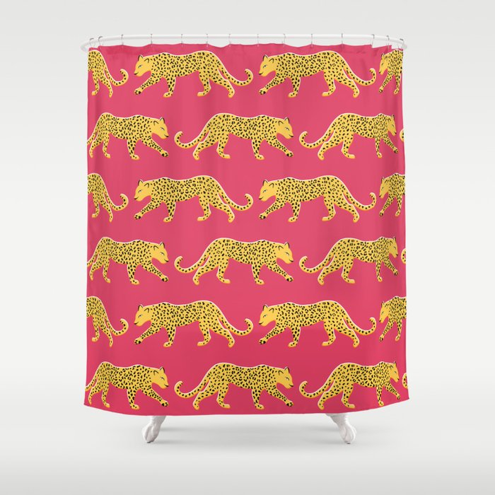 The New Animal Print Berry Shower Curtain