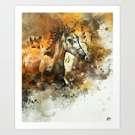 Watercolor Galloping Horses On Raw Canvas | Splatter Painting Art Print