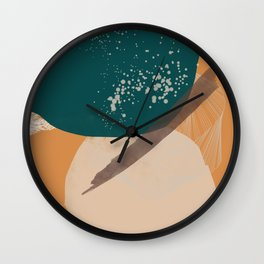 Rooted 7 Mid-Century Monoprint Wall Clock