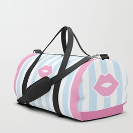 Pastel Lips with Stripes Duffle Bag