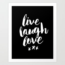 Live Laugh Love black and white monochrome typography poster design home wall decor canvas Art Print