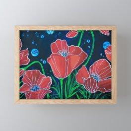 Stylized Red Poppies Framed Mini Art Print