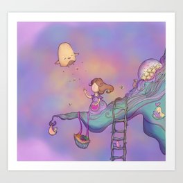 Up on the treetop 3 dark version Art Print