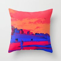 kieren walker Throw Pillows featuring JAPAN WALKER  by RUEI