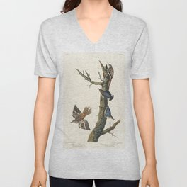 Brown Creeper and Californian Nuthatch from Birds of America (1827) by John James Audubon (1785 - 18 Unisex V-Neck