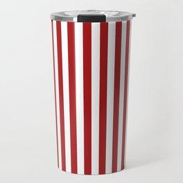 Red white vertical line stripe Travel Mug