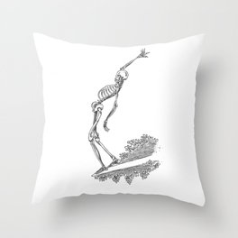 Surfing Skele Throw Pillow