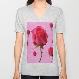 SCATTERED PINK ROSE BUD FLOWERS ON PINK Unisex V-Neck