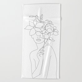 Minimal Line Art Woman with Orchids Beach Towel